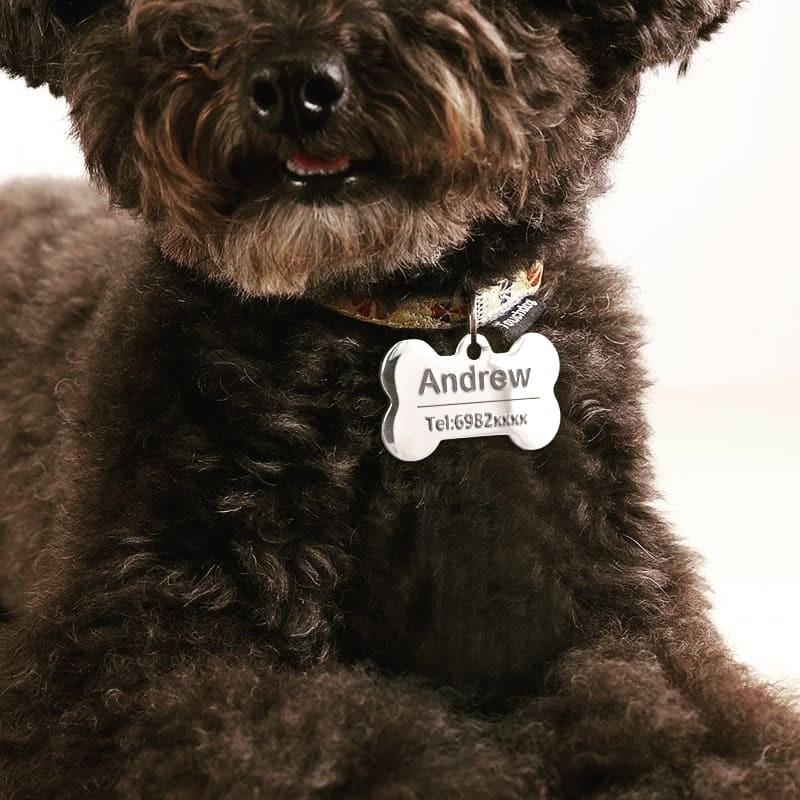 Chapa identificativa para perros en forma de hueso acero inoxidable