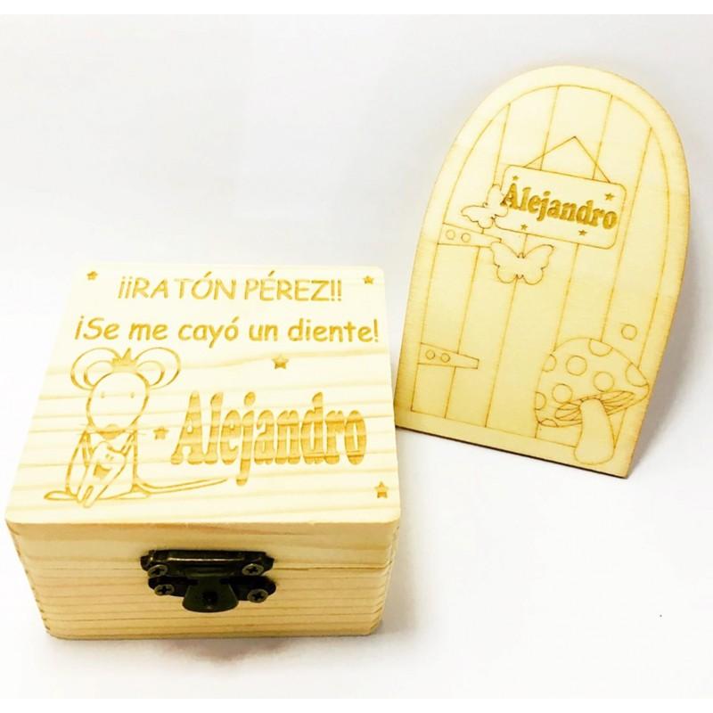 Caja de madera personalizada Ratoncito pérez guarda dientes M2