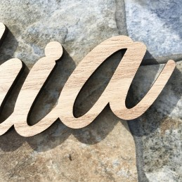 Cartel nombre de madera troquelado de 30cm