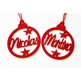 Bola decoración árbol de navidad en fieltro con tu nombre,color a elegir