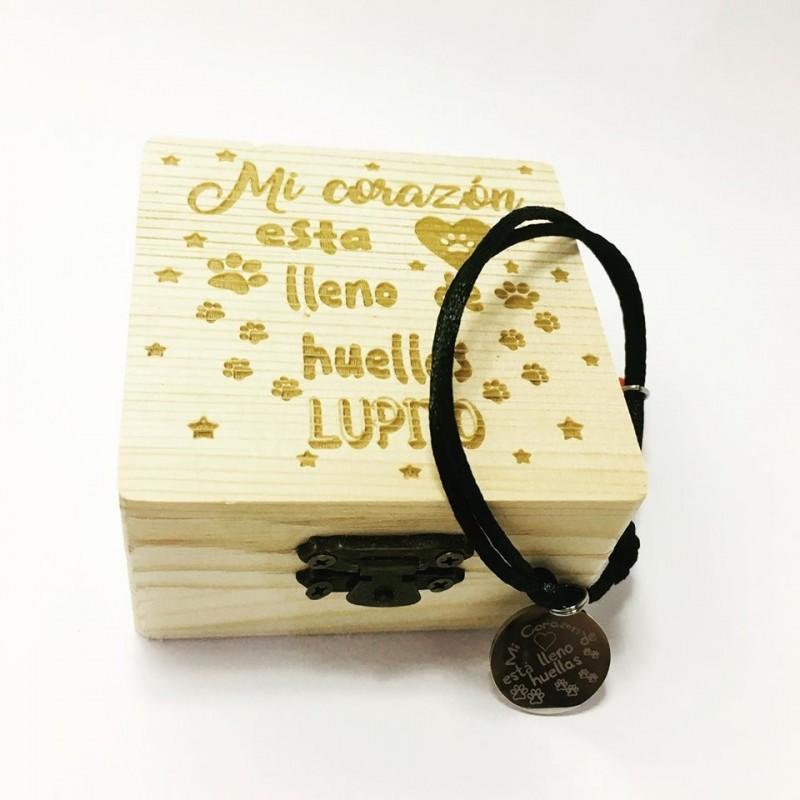 Recuerdo mascota,caja de madera+pulsera mi corazón está lleno de huellas