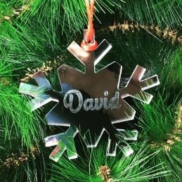 Adorno para el árbol de Navidad personalizado-copo de nieve con tu nombre