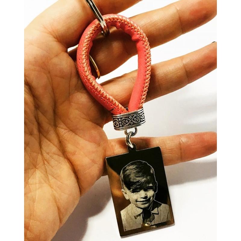 Llavero acero inoxidable con foto retrato grabado