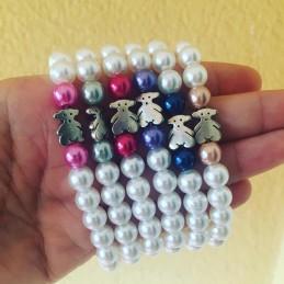 Pulsera de perlas acrilicas y osito