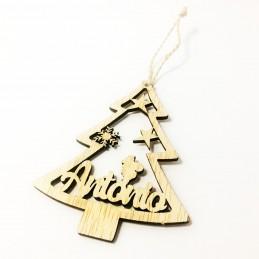 Adorno de Navidad en forma de árbol personaliado en madera con vuestros nombres