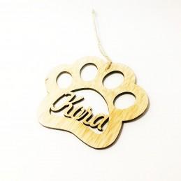 Adorno Navidad con huella de perro/gato personalizadas con su nombre