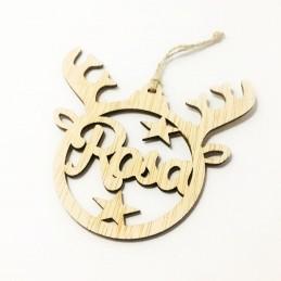 Adorno de Navidad esfera reno personaliado en madera con vuestros nombres