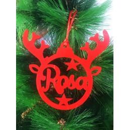 Adorno de Navidad en forma de esfera y cuernos de reno con tu nombre