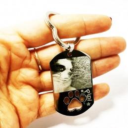 Llavero huella de mascota con foto y nombre-ellos tambien importan