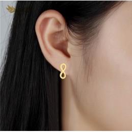 Bonitos pendientes en acero inoxidable con el simbolo del infinito color oro