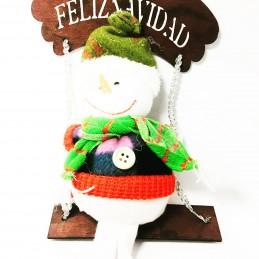 Muñeco de nieve con columpio colgante de tela de 37 cm