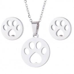 Bonito conjunto de cadena y pendientes huella de perro