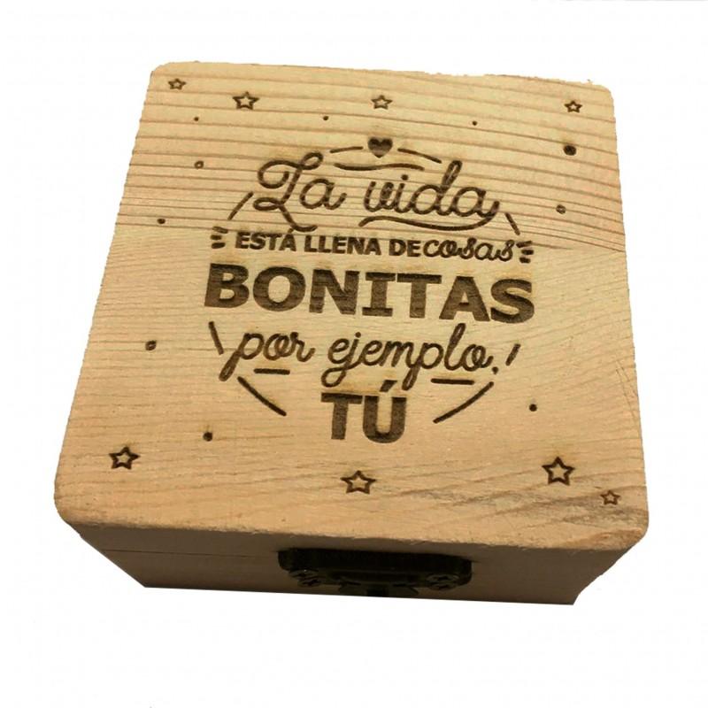 Caja de madera la vida está llena de cosas bonitas-frase positiva