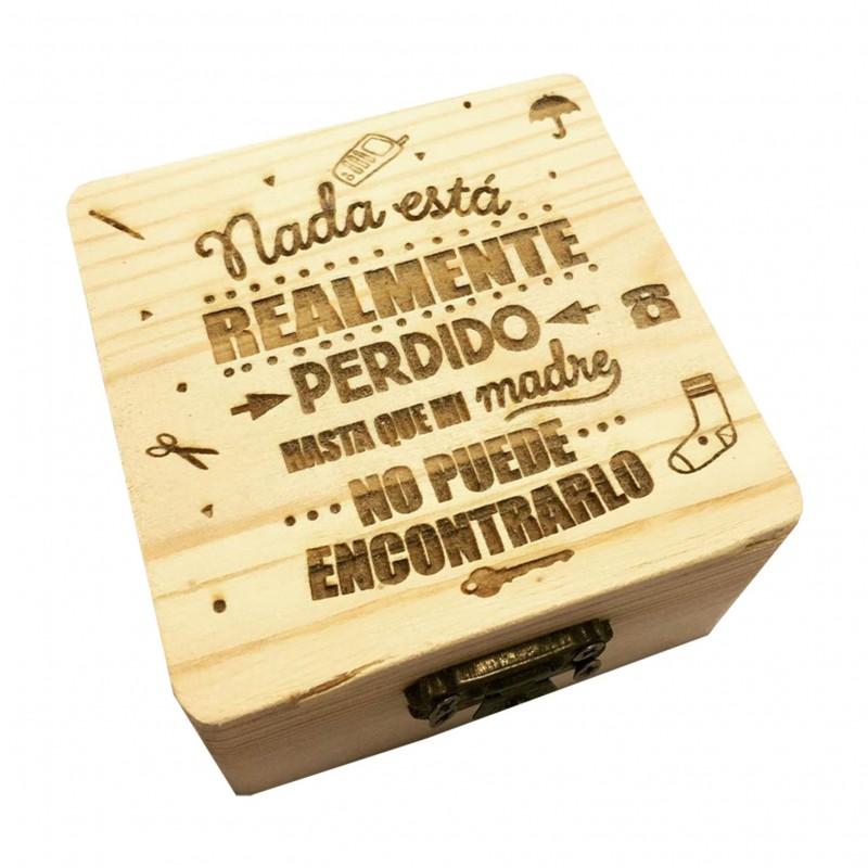 Caja de madera nada está perdido hasta que mama no lo encuentra-frase positiva