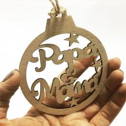 Bonita bola de navidad en madera personalizada con varios nombres