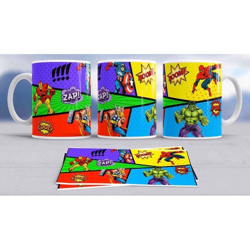Super taza comic -héroes famosos-Marvel