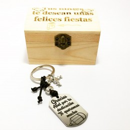 Lote llavero+caja regalo felicitación de las fiestas para profesores en Navidad