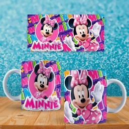 Super taza de Minnie Muse colores rosas con su nombre
