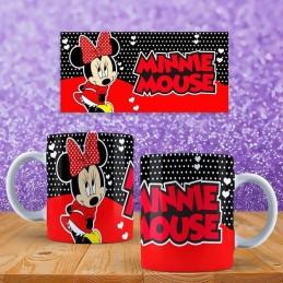 Super taza de Minnie Muse colores rojo y negro con su nombre