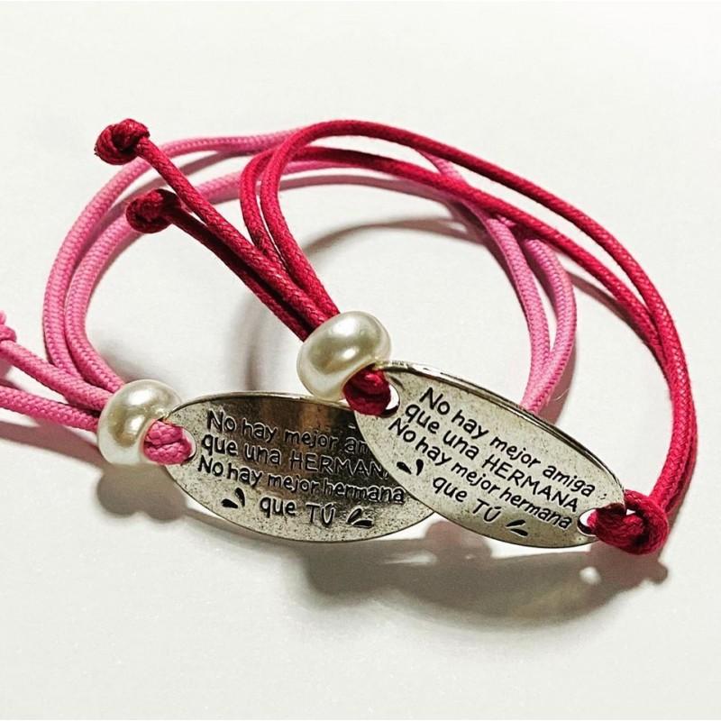 Pulsera de cordon ajustable para hermanas decorado con una perla correriza