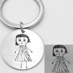 Llavero acero 30mm personalizado con dibujos de los niños de su puño y letra