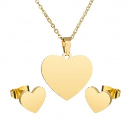 Colgante y pendientes corazón en acero inoxidable color oro