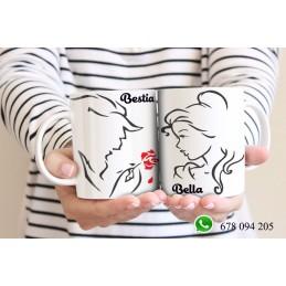 Super dúo tazas Bella y Bestia,regalo San Valentín