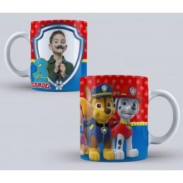 Taza patrulla canina personajes cumpleaños con foto niños 350ml
