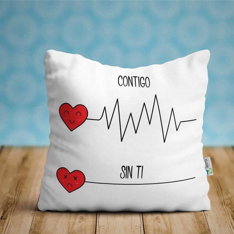 Cojin contigo y sin ti, regalo enamorados ideal parejas San Valentín