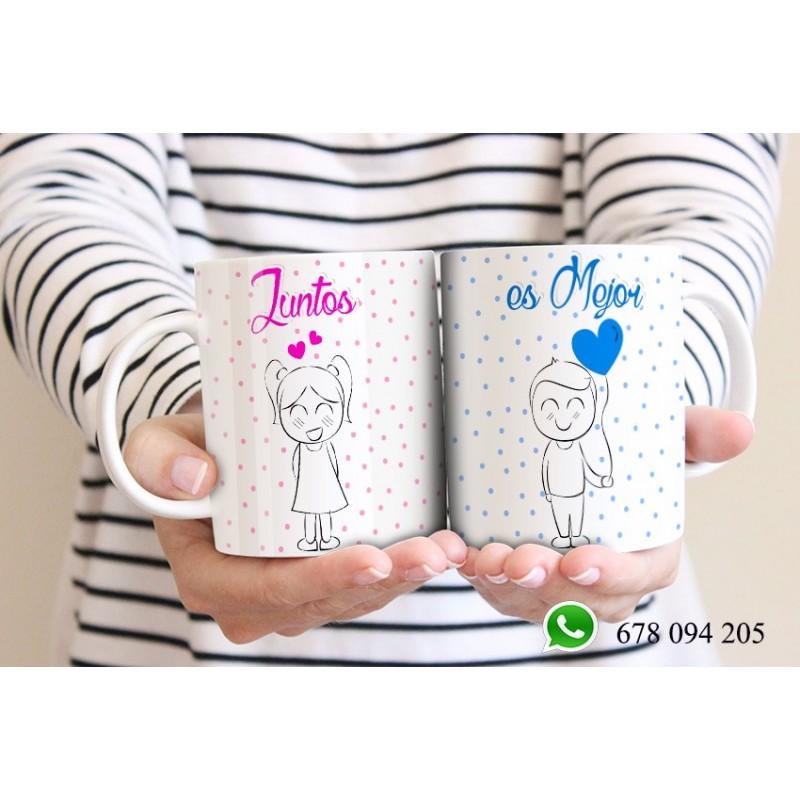 Tazas dúo de amor ,juntos es mejor ,aniverarios y san valentín