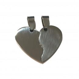 Chapa de Colgante Corazón Partido de acero inoxidable virgen para grabar.