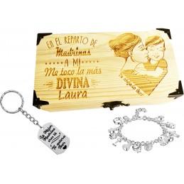 Lote llavero+caja+pulsera regalo ideal bautizos-detalle para madrinas