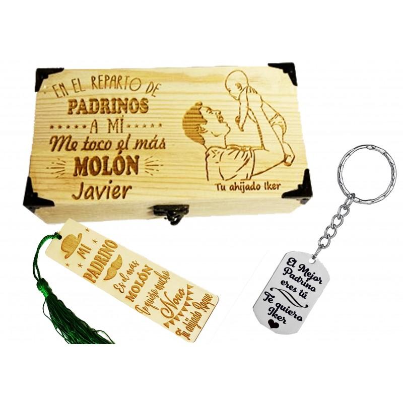 Lote llavero+caja+marca paginas regalo ideal bautizos-detalle para padrinos