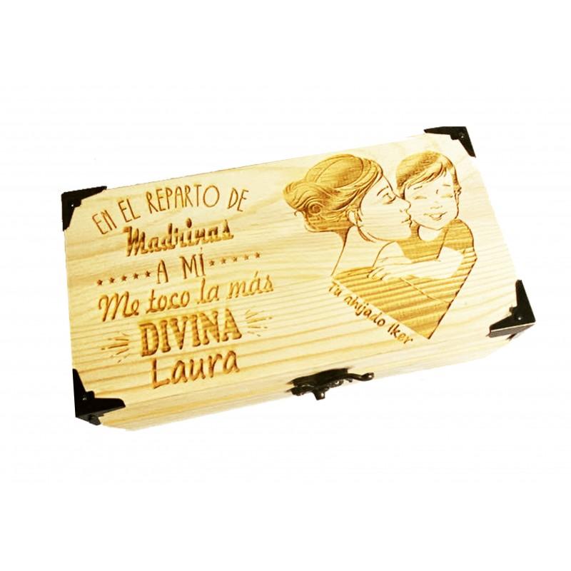 Caja de madera personalizada para la mejor madrina-regalo evento