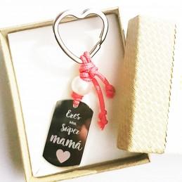 Llavero mamá regalo para día de la madre con perla y posibilidad de añadir foto