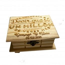 Caja de madera enamorados-Feliz día de San Valentín -te volveria a decir que si un millón de veces más