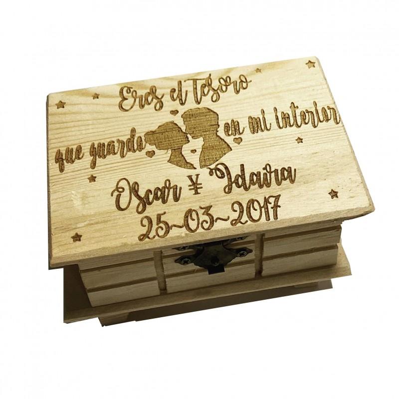Caja de madera enamorados-eres el tesoro que guardo en mi interior