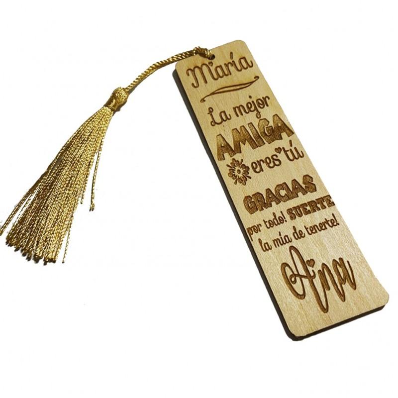 Marca paginas de madera -punto de libro personalizado regalo amigas