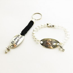 Lote para regalo de los padrinos, pulsera perlas mejor madrina y llavero mejor padrino