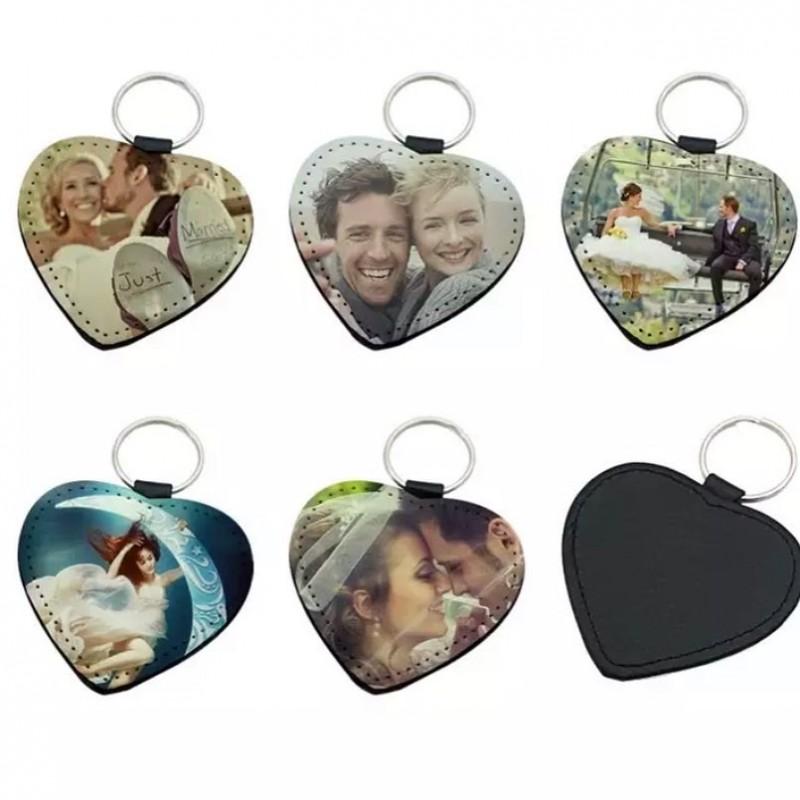 Llavero de cuero en forma de corazón personalizado con tu foto