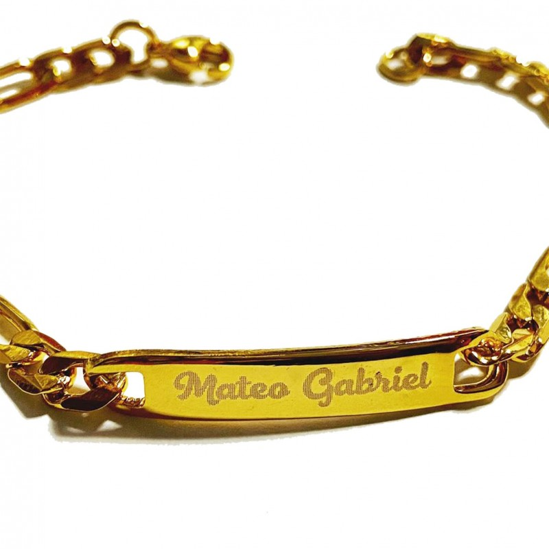 Esclava pulsera de acero inoxidable ideal niños con su nombre grabado