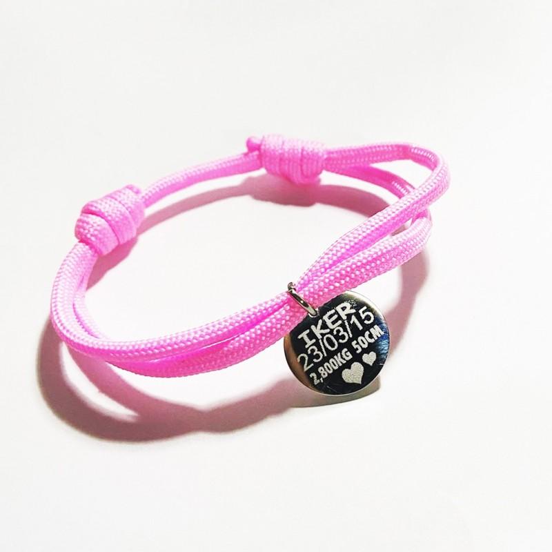 Bonita y original pulsera ajustable-cordón paracord rosa datos de nacimiento del bebe