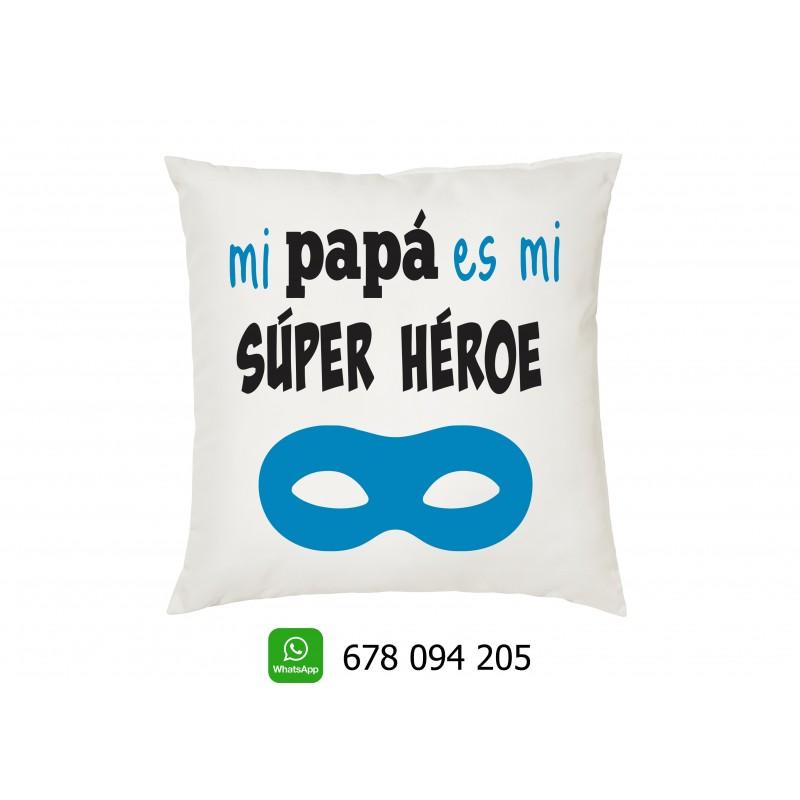 Cojin mi super héroe , regalo original para los papas