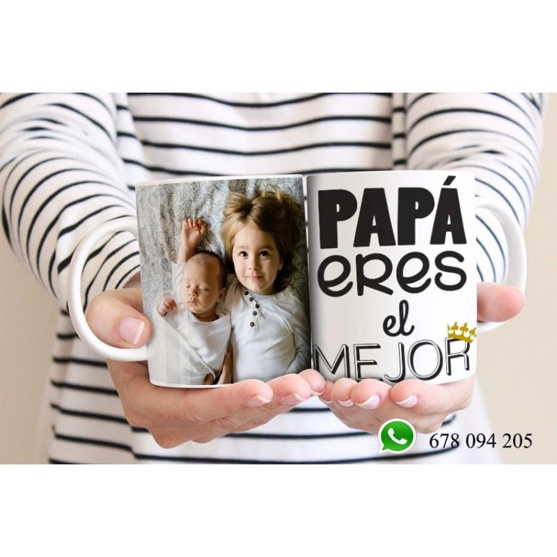 Taza detalle para papas, originales y exclusivas-el mejor papá con foto