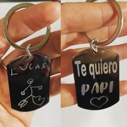 Llavero acero placa militar personalizado con dibujos de los niños de su puño y letra