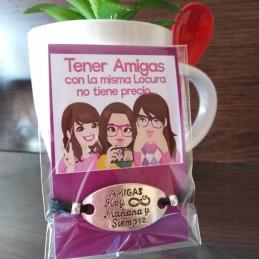 Pulsera de cordon ajustable Amigas hoy mañana y siempre+tarjeta