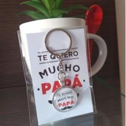 Llavero regalo-te quiero mucho papá+tarjeta incluida -dia del padre