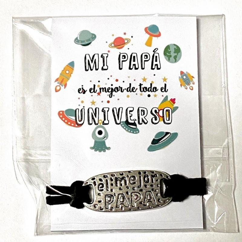 Pulsera ajustable regalo para el mejor papá+tarjeta