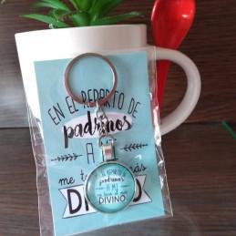 Llavero regalo para padrino o madrina +tarjeta incluida