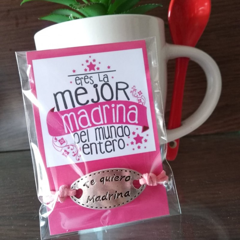 Pulsera ajustable te quiero madrina+tarjeta